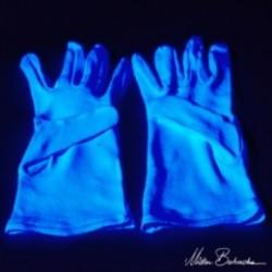 Перчатки белые хлопковые, светящиеся в УФ